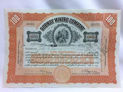 OJIBWAY MINING COMPANY  Stock Certificate 100 Shares Michigan ABNC Issued 1919