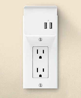 USB Charging Decor Wall Plate With Holder - White
