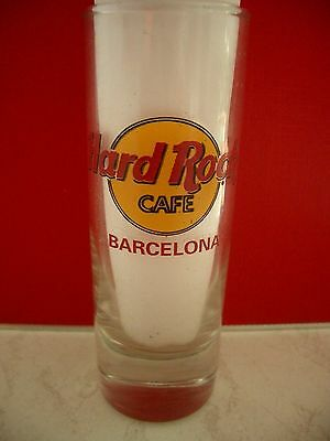 HRC Hard Rock Cafe Barcelona Classic Logo Red Letter Shot Glass Schnapsglas New