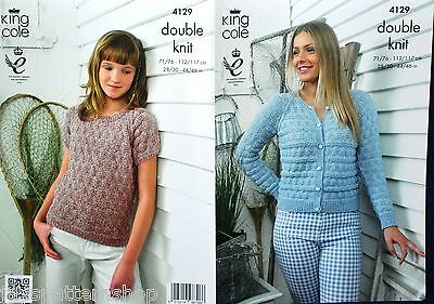 Ladies Childs Double Knit Easy Knit Cardigan & Top Knitting Pattern 28 - 46 Inch