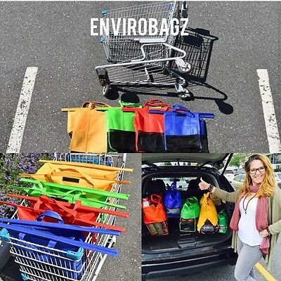 Set of 4 reusable DOUBLE STITCHED trolley/shopping cart bags