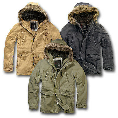 Brandit Vintage Explorer Parka Coat Jacket Mens Classic Outdoor Faux Fur Hood