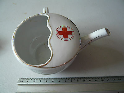 Antique Red Cross Wounded & Invalid Feeding Cup, WW1, Porcelain / China Guilded