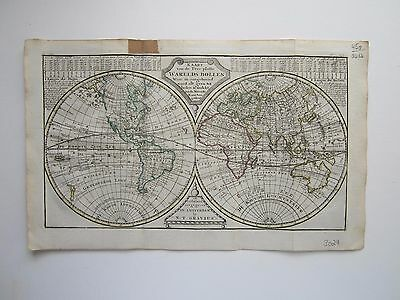 World Double Hemispheres  Keizer/ de Lat 1788 original antique map RARE!