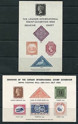 Weeda London International 1950 & 1960 Stamp Exhibition S/S, with Reproductions