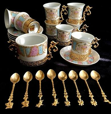 Lot of 25 Tipo Limoges Tea Set 8 Cups 8 Saucers 8 Spoons 1 Sugar Bowl Gold Trim