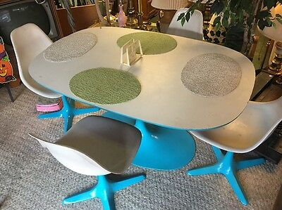 Vintage Mid Century Modern Tulip Dining Set Table 4 Chairs Burke Saarinen