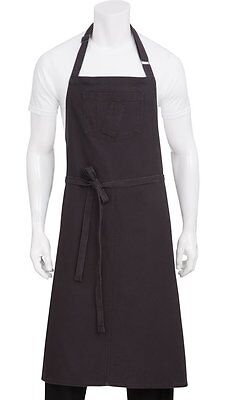 Chef Works ABCKV003-SGY-0 Pigment Dye Canvas Bib Apron, Steel Grey