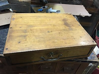 c1920-30 country store cash drawer w key & working bell Indiana cash drawer 18""