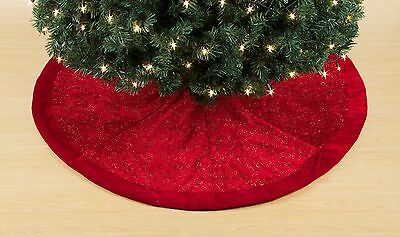 NWT Trim A Home Red Velvet with Gold Glitter Christmas Tree Skirt 50 Inch