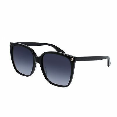 Gucci Gg0022S 001 Occhiale Da Sole Nero Black Sunglasses Sonnenbrille Donna New