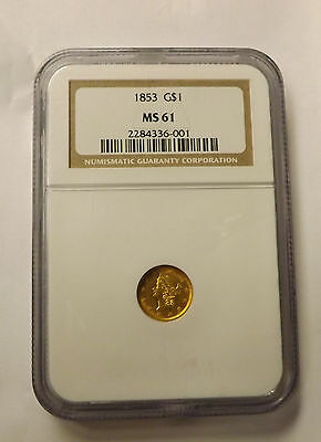 1853 G $1 Liberty Head MS-61 ngc GOLD ONE DOLLAR