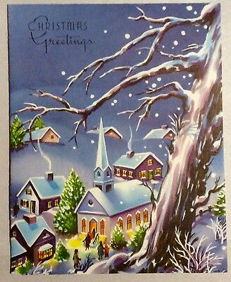 UNUSED Beautiful Houses Church Snowing Purple Vintage Christmas Greeting Card