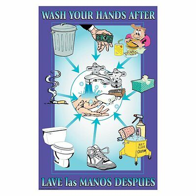 DayMark IT112093 Laminated Workplace Safety and Educational Poster, Wash Your x