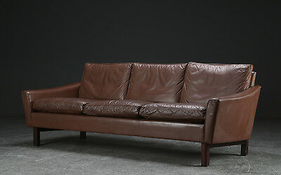 Vintage Retro Danish 3 Seater Leather And Rosewood Sofa 1960
