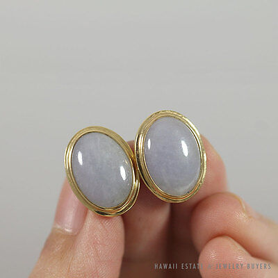 Ming's Hawaii Lavender Jade Cabochon 14K Yellow Gold Screw-Back Earrings