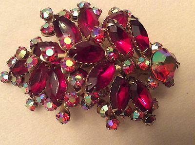 Vintage Large Pin Brooch With Red And Aurora  Borealis Stones.