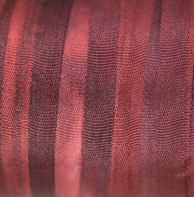 Hand Dyed Silk Ribbon 4mm - 3 meters Bordeaux