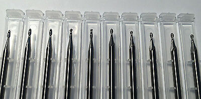 "NEW 1/16"" 0.062"" solid carbide end mill 2 flute BALL end Made In USA 10 pieces"