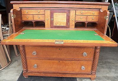 Antique Tiger Maple American Butlers Desk Secretary Chest of Drawers Empire