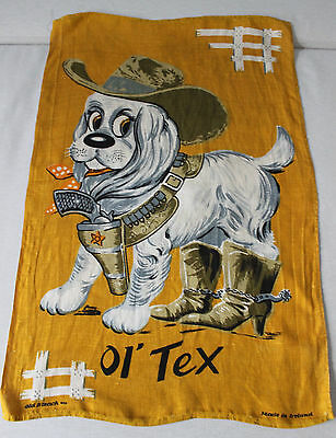 Vintage Old Bleach Irish Linen Towel Ol' Tex Cute Cowboy Sherif Dog
