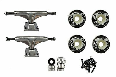 "Skateboard Undercarriage 5"" Raw Trucks and 52mm Wheels ABEC Bearings Blk/White"