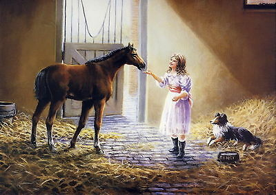 Large Vintage GRAHAM Art Print MY COMPANION Girl Farm Barn Horse Pony Collie Dog