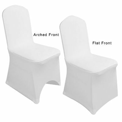 1-100pcs White Flat Arched Front Covers Spandex Lycra Seat Chair Cover Wedding