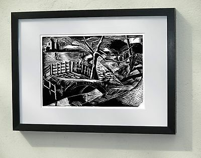 Framed and Mounted print - Paul Nash The Dyke by the Road 1922 - Wood Engraving