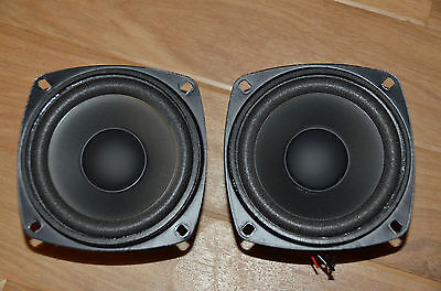"Pair of Small 4"" long throw bass unit woofers ideal for centre/surround speakers"
