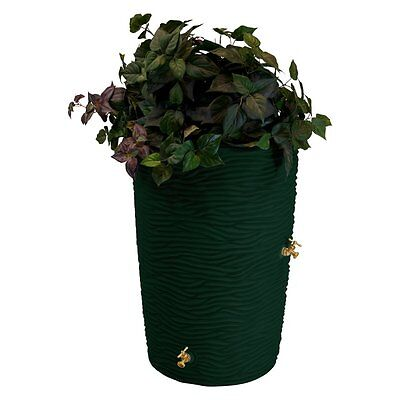 Palm Rain Saver Barrel Storage 50 Gallon Garden Planter Deck 2 Spigot Spout Urrn