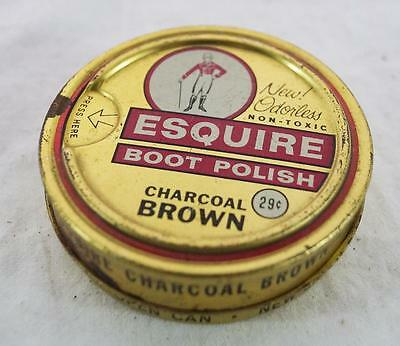Vintage Esquire Charcoal Brown Shoe Polish Canister Tin