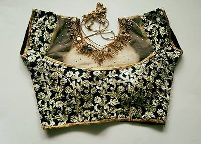 USA Black  Saree blouse embroidered mirror work Ready made