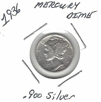US 1936 Mercury Dime .900 Silver....Must See !!