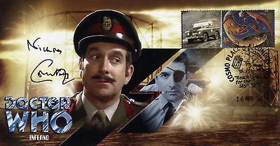 """Doctor Who """"Inferno"""" Classic Stamp Cover - Signed by the late NICHOLAS COURTNEY"""