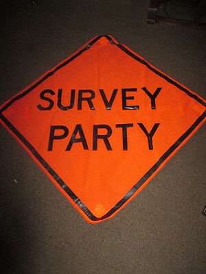 'Survey Party' Roll Up Construction Road Sign- 4' x 4' Fabric