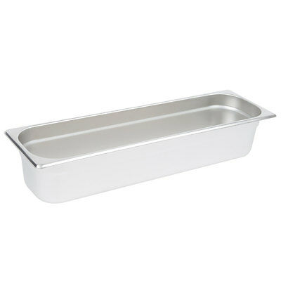 """1/2 Size Long Anti-Jam NSF Stainless Steel Steam Table / Hotel Pan - 4"""" Deep"""