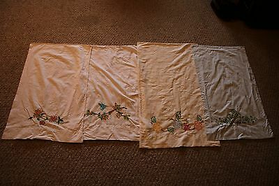 Lot of 4 Hand Embroidered Pillowcases Floral and Bird Designs