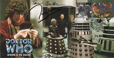 Doctor Who Genesis of the Daleks Collectable Stamp Cover TRIPLE SIGNED!
