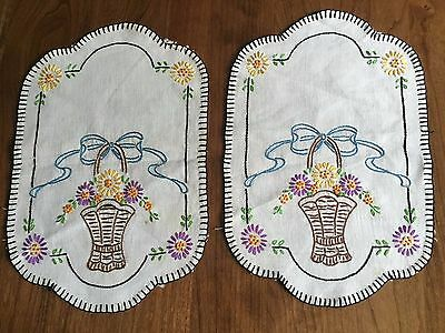 Vintage Embroidered Table Doilies Set Of 2 Flowered