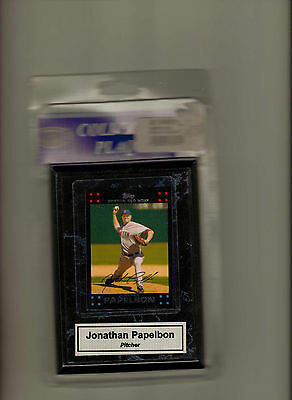 "4.25""X6"" Wooden plaque Jonathan Papelbon Boston Red Sox"