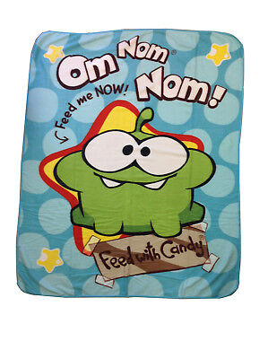 Official Cut The Rope Om Nom Fleece Blanket - 120 x 150cm - FEED ME! - NEW