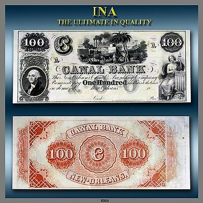 Louisiana New Orleans Canal Bank $100 Dollar Obsolete Note Currency Ch Unc A