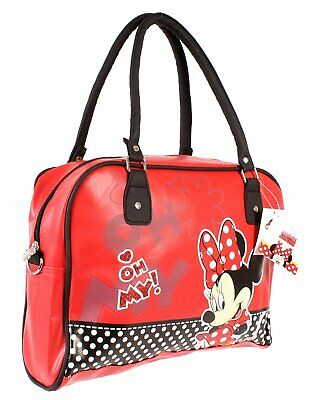 Minnie Mouse Handbag Bowling Bag Faux Red Leather Official Disney Merchandise