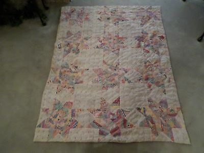 Antique Star Quilt Measuring 86 X 66 Inches Hand Tied