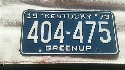 1973 Greenup County Kentucky License Plate 404-475 Very Clean