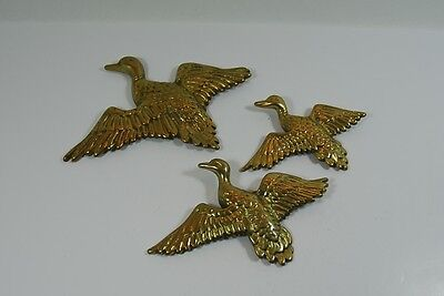 3 Vintage Brass Flying Ducks Wall Hanging Graduated