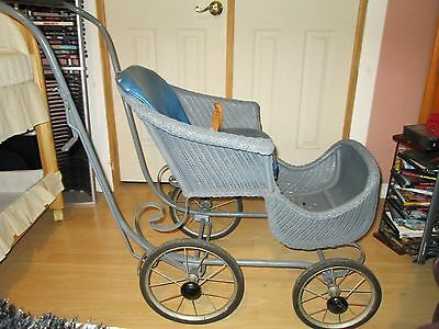 Antique RESTORED 1950's Victorian Wicker Baby Stroller Vintage GREAT CONDITION
