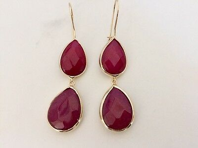 Gold Earrings Red Jade Gemstone Semi Precious Teardrop Bronze Turkish Ottoman