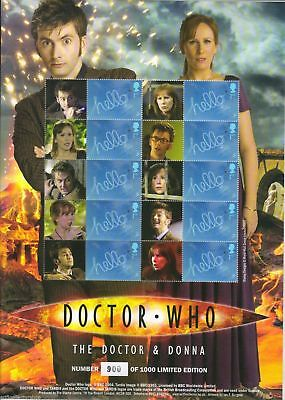 Official 10th Doctor Who & Donna Royal Mail Ltd Ed Smiler Stamp Sheet - BC-215